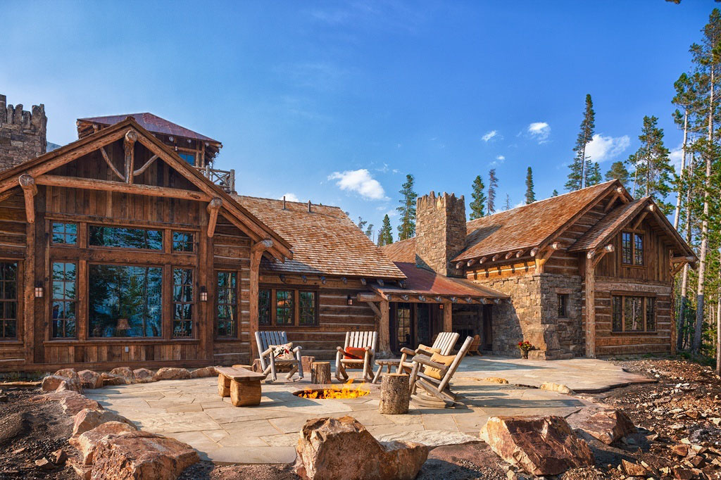Old West Style Architecture Inspired Rustic Log Cabin Chalet
