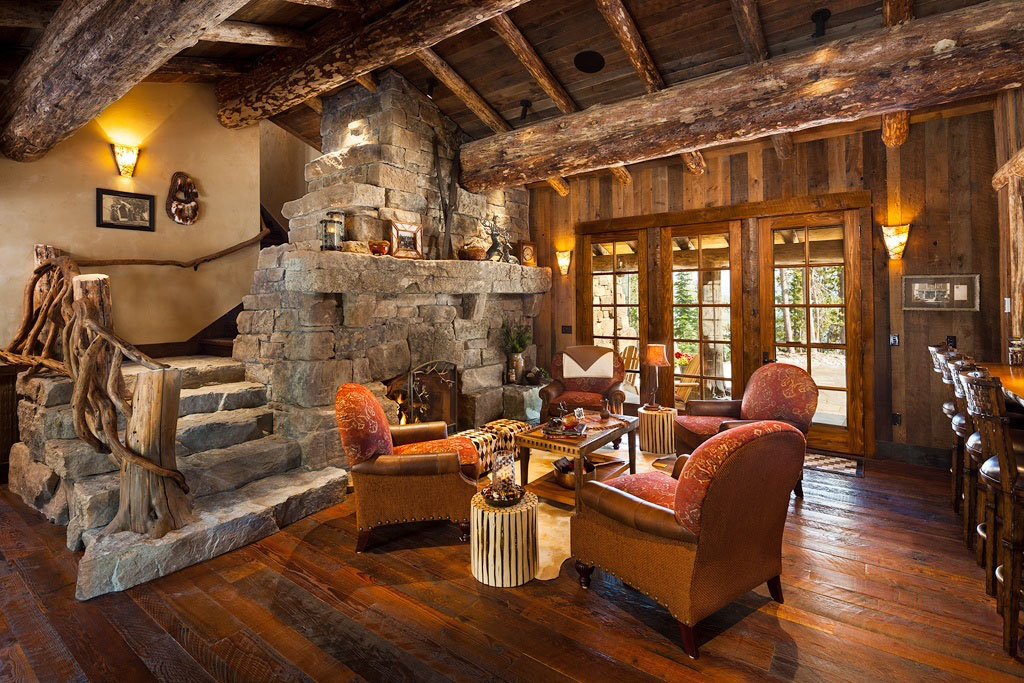 Old West Style Architecture Inspired Rustic Log Cabin Chalet In Montana